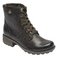 Rockport Women's Cobb Hill Brunswick Lace Combat Boot Stone Full Grain Leather