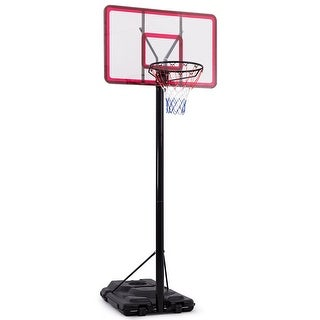 Gymax 10' Height Adjustable Basketball System Hoop Stand Backboard Outdoor w/Wheels