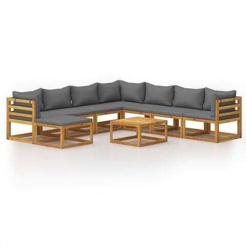 vidaXL 9 Piece Garden Lounge Set with Cushion Solid Acacia Wood