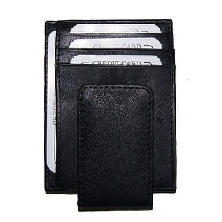Improving Lifestyles Leather Black Magnetic Money Clip Window ID Free Gift Bag