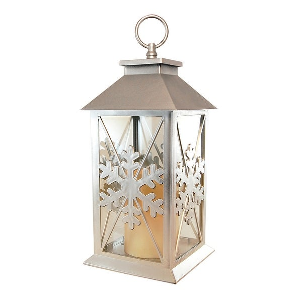 "13.25"" Metallic Silver Snowflake Lantern with Battery Operated Amber LED Candle - N/A"