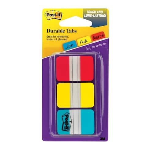 Post-it durable index tabs 1x1.5 3/pk 686rybt