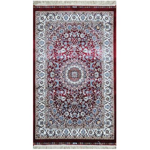 Handmade One-of-a-Kind Kashmiri Silk Rug (India) - 2'6 x 4'