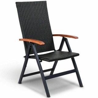 Costway Patio Folding Back Adjustable Aluminum Rattan Chair Lounger Recliner Garden