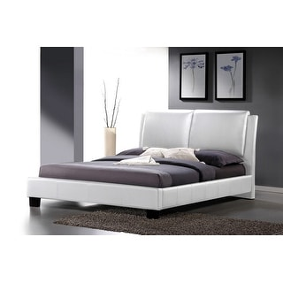 Contemporary Sabrina White Platform Bed with Overstuffed Headboard (King Size)