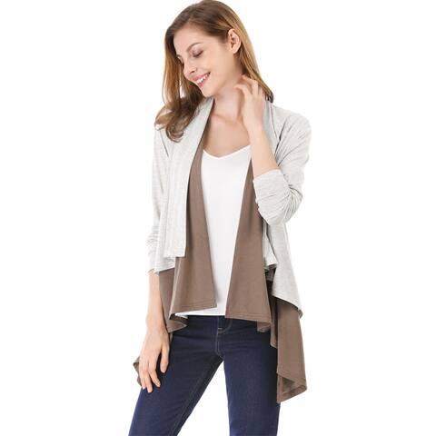 Allegra K Women Color Block Asymmetric Hem Layered Cardigan
