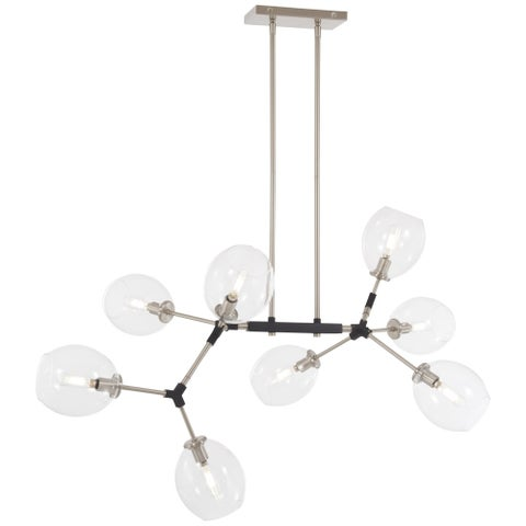 """Kovacs P1368-619 Nexpo 8 Light 41"""" Wide Abstract Chandelier with Glass Shades - brushed nickel/black accents"""