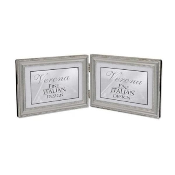 Shop 4x6 Hinged Double - Horizontal - Metal Picture Frame Pewter ...