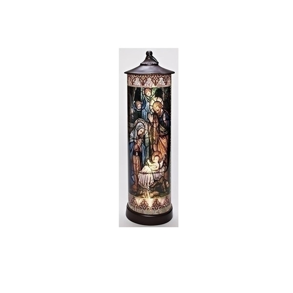 "24"" LED Lighted Battery Operated Stained Glass Holy Family Cylinder Lantern"