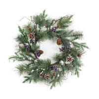 Set of 2 Green Pine, Ornament and Berry Artificial Decorative Succulent Wreath 25""