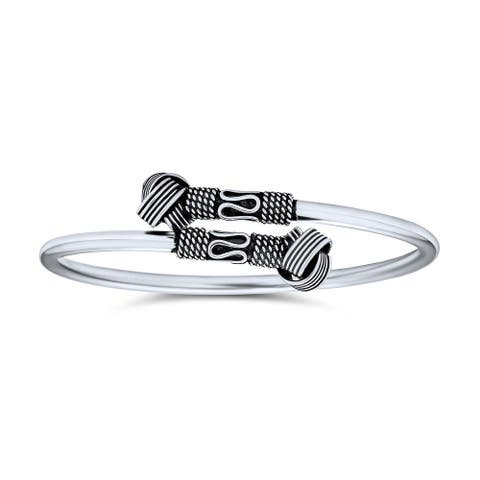 Bali Style Knot Tips Stacking Bangle Cuff Bracelet Sterling Silver