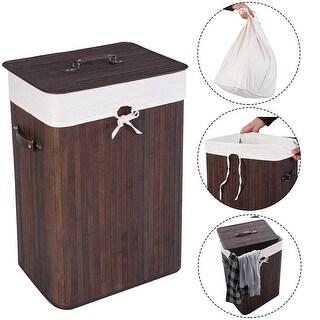 Costway Rectangle Bamboo Hamper Laundry Basket Washing Cloth Bin Rangier Lid Brown