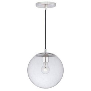 Vaxcel Lighting P0161 630 Series Single Light Pendant with Globe Shaped Seedy Glass Shade - polished nickel