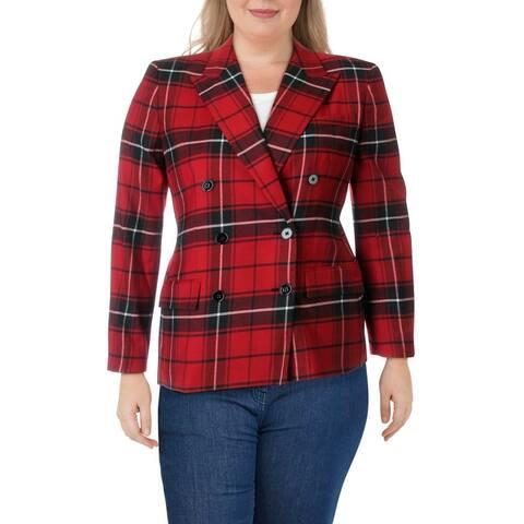 Lauren Ralph Lauren Womens Ryen Double-Breasted Blazer Wool-Blend Plaid - Red Multi
