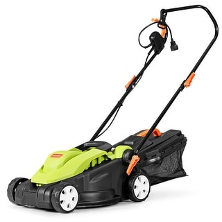 14-Inch 10Amp Lawn Mower w/Folding Handle Electric Push Lawn Corded Mower Green