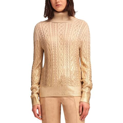 DKNY Womens Turtleneck Sweater Metallic Cable