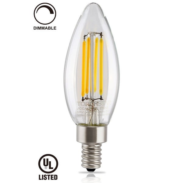 LED Filament Candelabra Bulb,Dimmable,4.5W Vintage Style E12,2700K