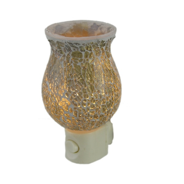 Gold Crackled Glass Plug In Night Light - Off-white