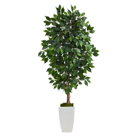 """4.5' Ficus Artificial Tree in White Metal Planter - 13"""""""