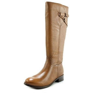 Trotters Lucky Too Women N/S Round Toe Leather Brown Knee High Boot