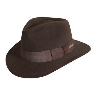 Dorfman Pacific Indiana Jones Men's Wool Felt 3 Inch Brim Fedora Hat - Brown