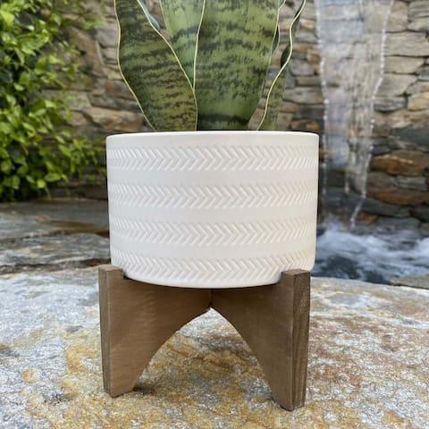 "Mid-Century 5"" Arrow Ceramic Planter on Wood Stand,Matte White"