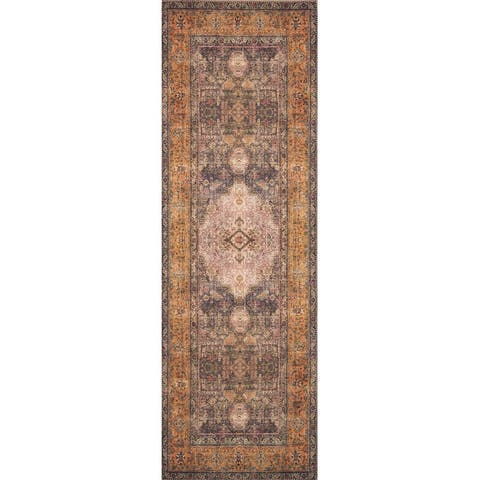 Alexander Home Tremezzina Printed Distressed Medallion Boho Rug