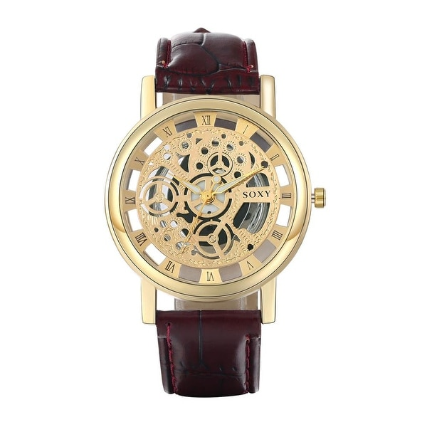 Faux Black Leather Gold Spiral Design Watch