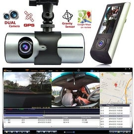 "Indigi® NEW XR300 CarDVR DashCam DualCamera(Front+Rear) Recorder with 2.7"" Split LCD w/ GPS Tracker & 32gb microSD included"