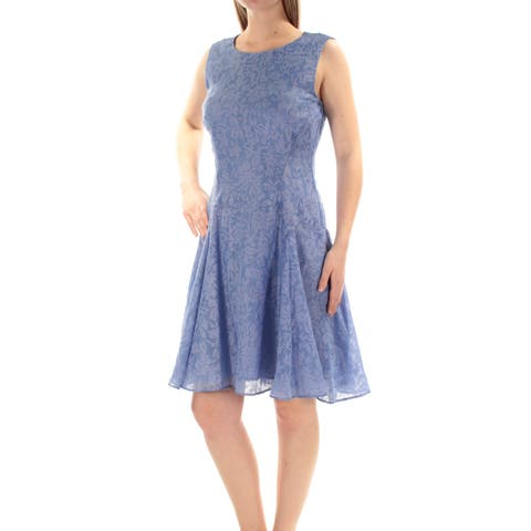 81f9fc5f TOMMY HILFIGER Womens Blue Lace Sleeveless Jewel Neck Knee Length Fit +  Flare Dress Size: