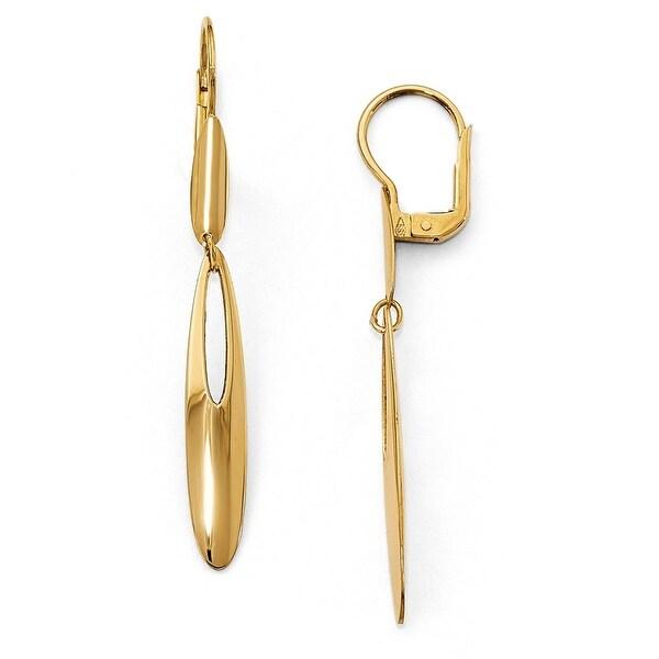 Italian 14k Gold Polished Leverback Dangle Earrings
