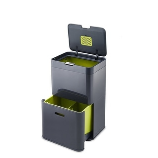 Joseph Joseph 30020 Intelligent Waste Totem Trash Can and Recycler Unit Garbage Can Recycling Bin, 13-gallon, Gray