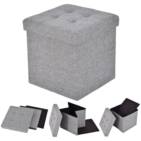 Shop Costway Folding Storage Cube Ottoman Seat Stool Box