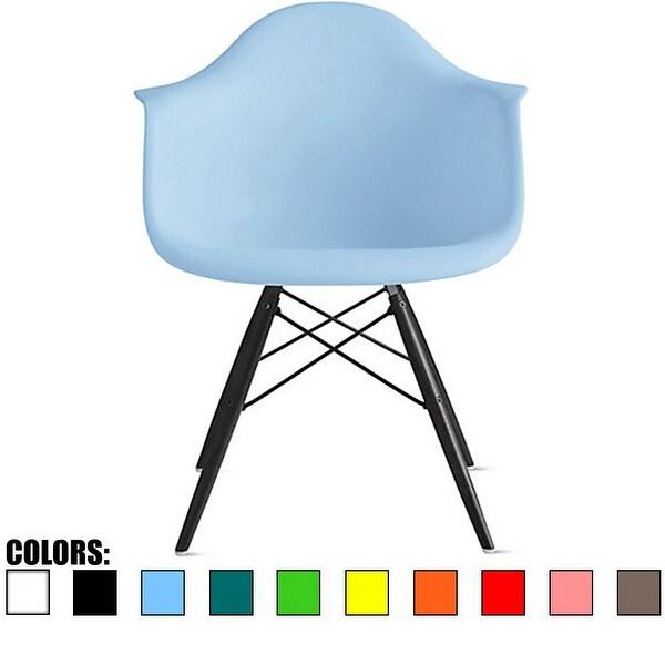 2xhome Modern Plastic Armchair With Arm Dining Chair Blue Dark Black Wood Legs