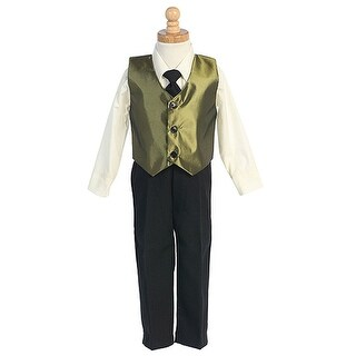 Little Boys Green Vest Special Occasion Christmas 3pc Suit Set 6M-7