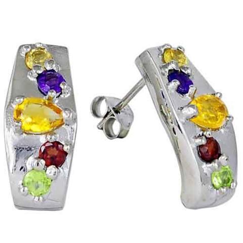 Citrine, Peridot, Garnet, Amethyst Sterling Silver Pear Stud Earrings by Orchid Jewelry