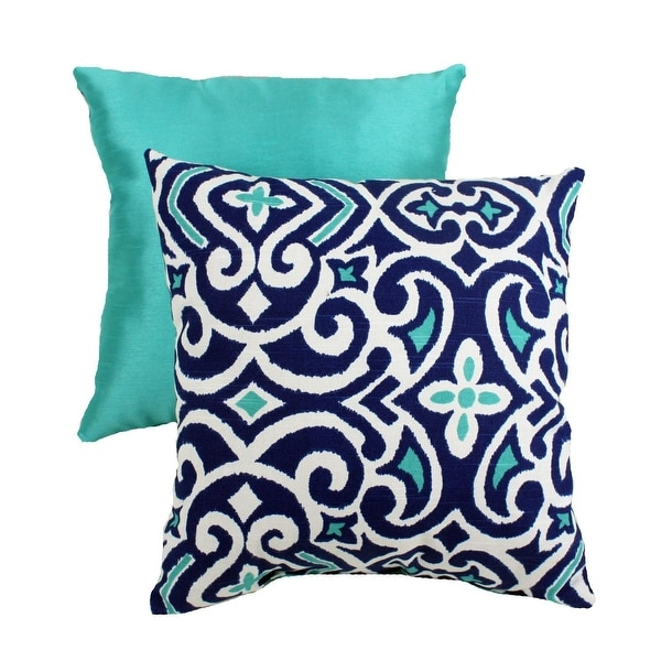 "16.5"" Eco-Friendly Virgin Recycled Moroccan Flair Throw Pillow - Blue/White"