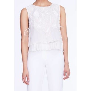 Elie Tahari NEW White Womens Size XL Antique Carlyn Embellished Blouse
