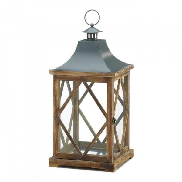 Large Wooden Diamond Motif Wooden Lantern