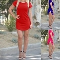 NEW Women Bodycon Side Slit Short Sleeve Evening Formal Party Cocktail Short Mini Dress - Thumbnail 2