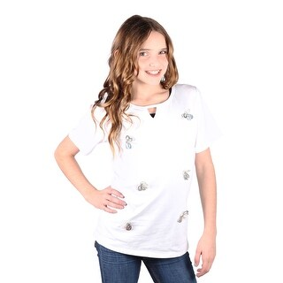 Lori&Jane Girls White Bug Graphic Short Sleeve T-Shirt