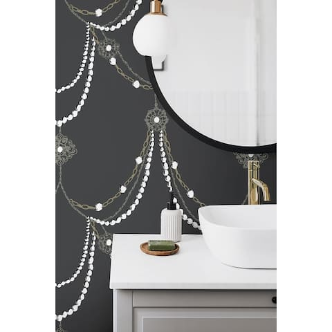Seabrook Designs Pearl Necklace Unpasted Wallpaper