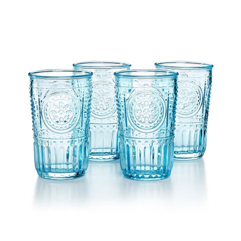 Bormioli Rocco Romantic Glass Drinking Tumbler Victorian Inspired 10.25 Oz Set Of 4 - Light Blue