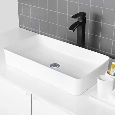 White Ceramic Rectangular Bathroom Vessel Sink