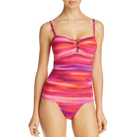 Lauren Ralph Lauren Womens Swimsuit Tankini Top 8 Pink Multi Ombre Ikat