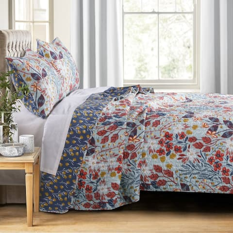 King Size 3 Piece Polyester Quilt Set with Floral Prints, Multicolor