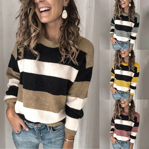 Women Casual Long Sleeve Contrast Striped Sweater Pullover Loose Sweater