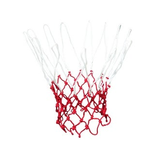 """Unique Bargains 19"""" Long All-Weather Nylon Knotted Basketball Net Great Replacement White Red"""