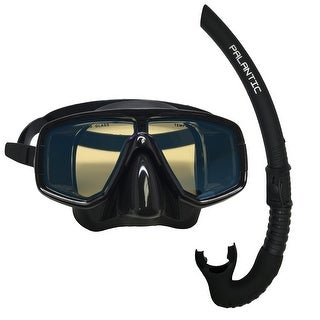 Scuba Choice Silicone Dive Mask With Blue Mirror Coated Lense + Black Snorkel Combo