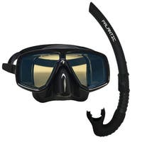 Scuba Choice Dive Mask With Blue Mirror Coated Lense + Black Snorkel Combo